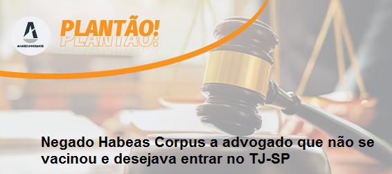 Negado Habeas Corpus a advogado que não se vacinou e desejava entrar no TJ-SP
